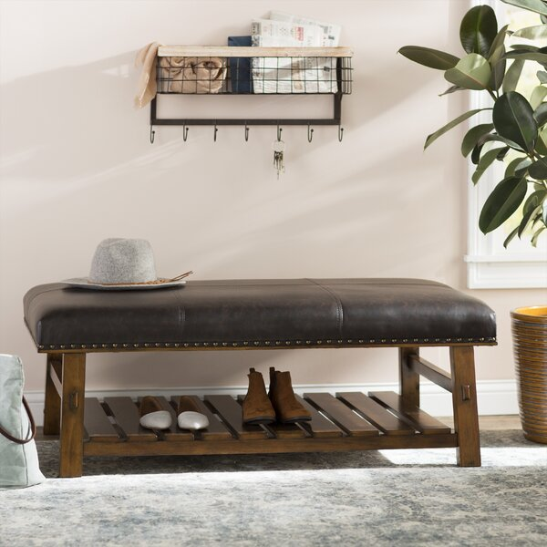 Tabron Faux leather Upholstered Shelves Storage Bench