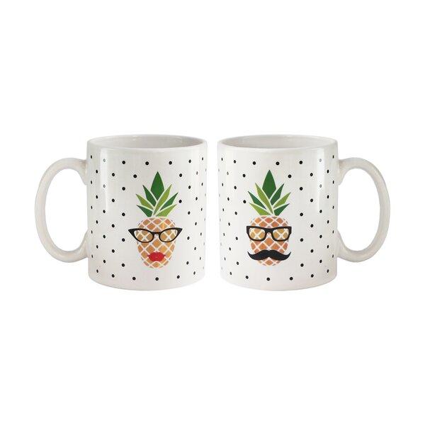 Corns Pineapple 2 Piece Coffee Mug Set by Wrought Studio