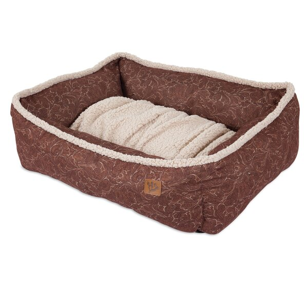 Lambswool Tooled Leather Printed Lounger Bolster Dog Bed by MuttNation Fueled By Miranda Lambert