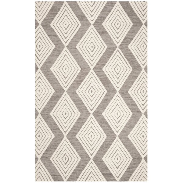 Pizano Hand-Woven Wool Dark Gray/Ivory Area Rug by Wrought Studio