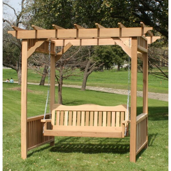 Thayer Cedar Arbor Porch Swing with Stand by Loon Peak