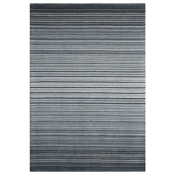 Nathanson Stripe Hand-Woven Wool Gray Area Rug by Orren Ellis