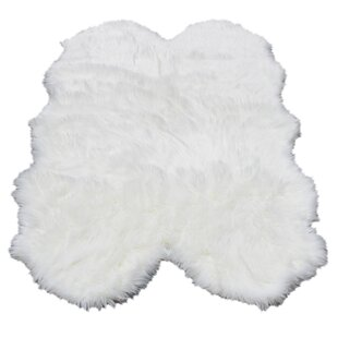 Buy clear Ilka Faux Fur White Area Rug ByEverly Quinn