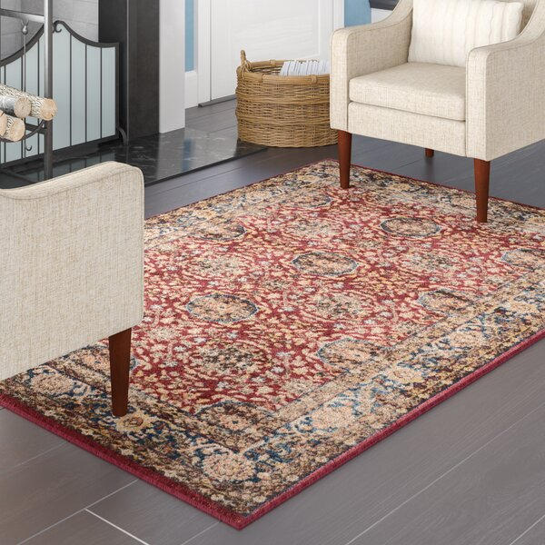 Broomhedge Red/Royal Area Rug by Charlton Home
