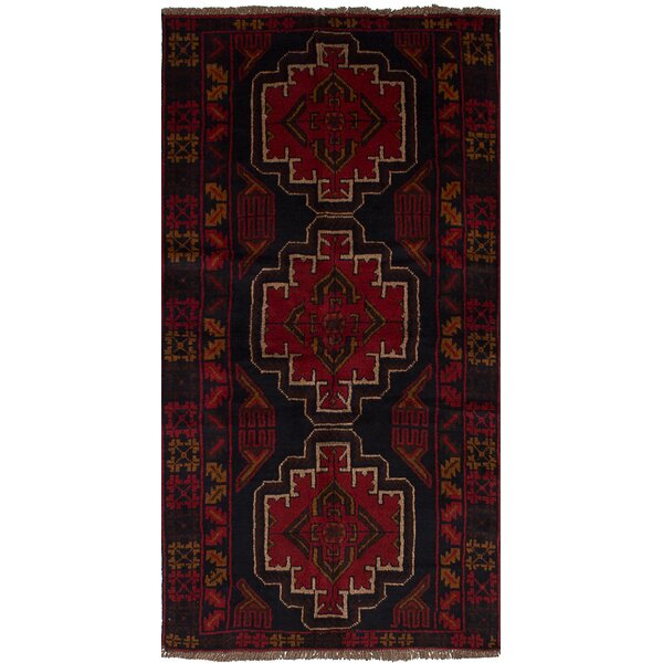 One-of-a-Kind Hann Hand-Knotted Wool Dark Navy/Red Area Rug by Isabelline