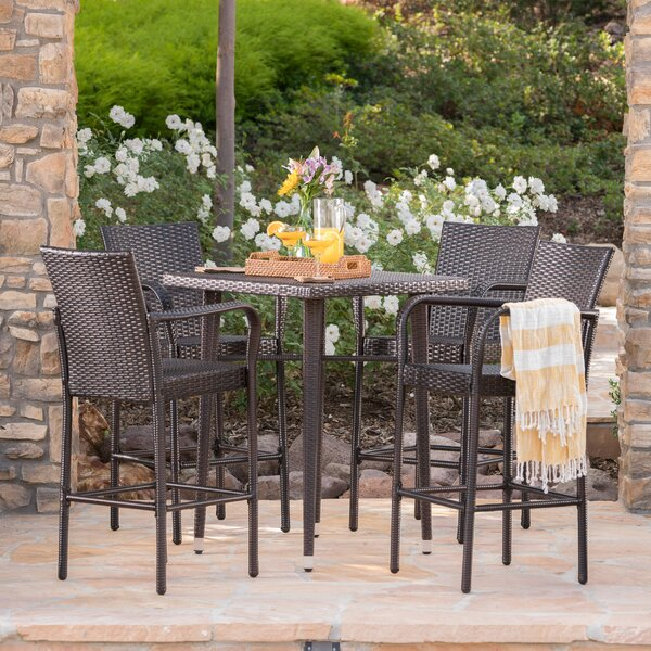 Buitron Outdoor Wicker 5 Piece Pub Table Set by Brayden Studio