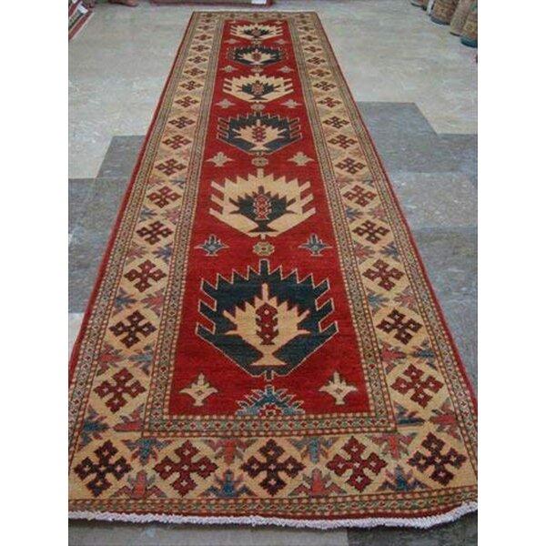 Runner Kazak Oriental Hand-Knotted Red Area Rug