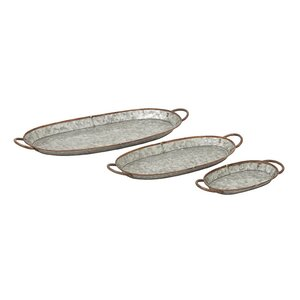 3 Piece Metal Galvanized Tray Set