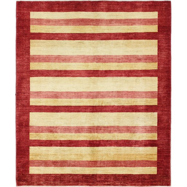 One-of-a-Kind Rejali Hand-Woven Wool Red/Beige Area Rug by Red Barrel Studio