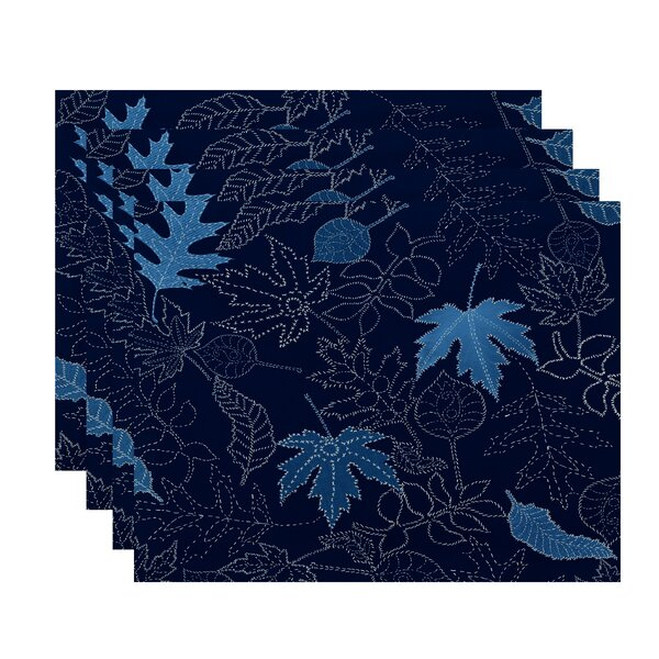 Maxson Dotted Leaves Floral Print Placemat (Set of 4) by Alcott Hill