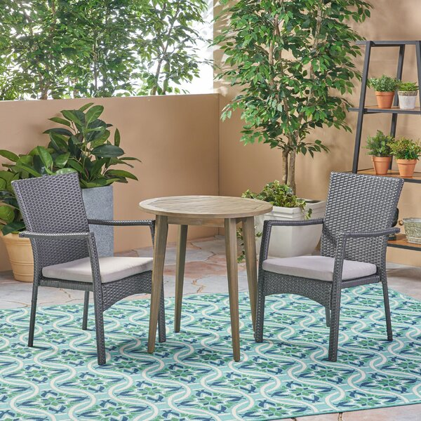BolesworthOutdoor 3 Piece Bistro Set with Cushions by Bungalow Rose Bungalow Rose