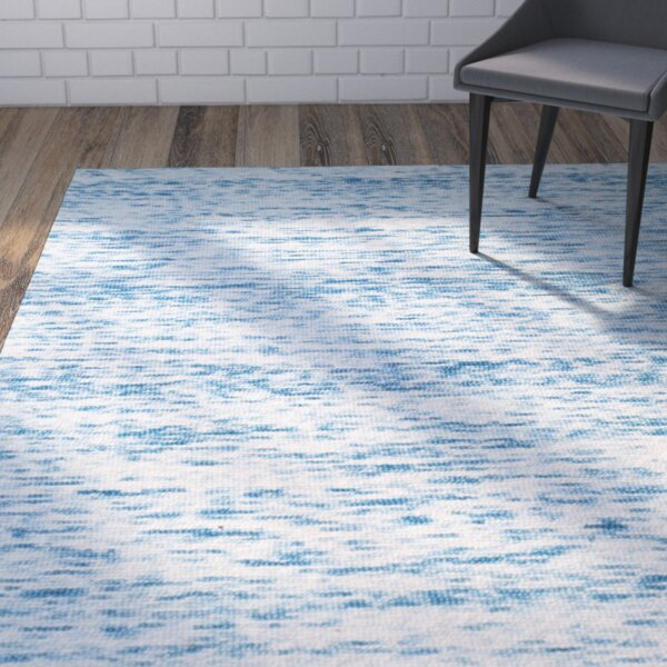 Short Hand-Loomed Blue Area Rug by Wrought Studio