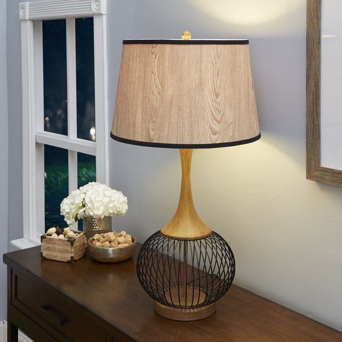 Bungalow rose rishi 23 table lamp with metal wire cage and faux rishi 23 table lamp with metal wire cage and faux wood shade keyboard keysfo Images