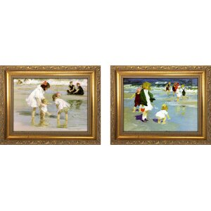 'Children Playing at the Seashore' 2 Piece Framed Oil Painting Print Set by Beachcrest Home