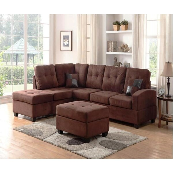 Hust Reversible Sectional with Ottoman by Ebern Designs