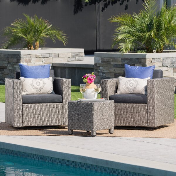 Furst 3 Piece Conversation Set with Cushions by Wade Logan