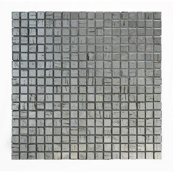 Micro Folia 0.56 x 0.56 Glass Mosaic Tile in Borage Silver by Solistone