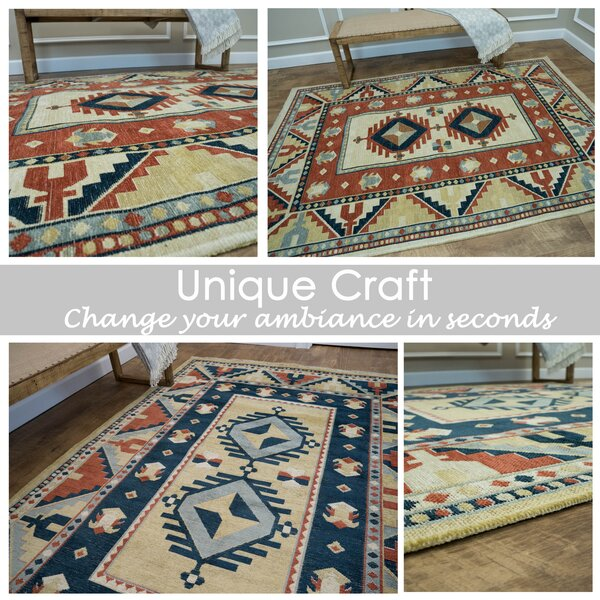 Tudor City Reversible Orange/Blue Area Rug by Millwood Pines