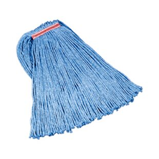 24 Oz Cut-End Blend Cotton/Synthetic Mop Heads with 1 Headband in Blue