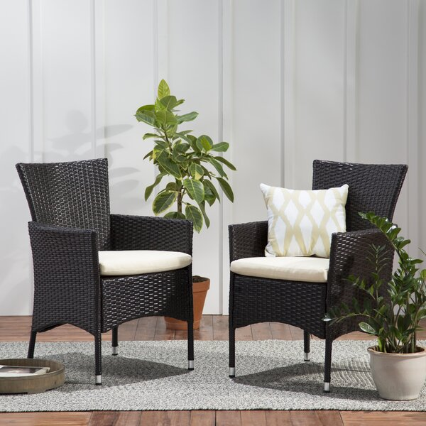 Carmack Patio Dining Chair With Cushion (Set Of 2) By Brayden Studio by Brayden Studio Purchase