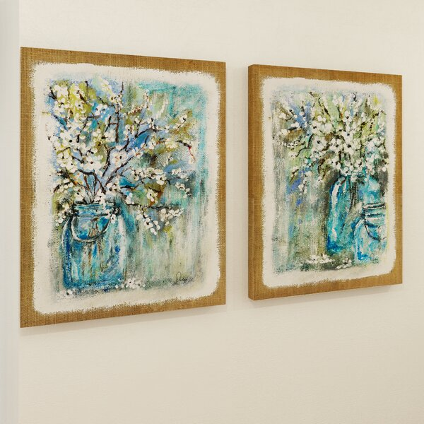 Burlap Blossoms 2 Piece Painting Print on Canvas Set by Red Barrel Studio