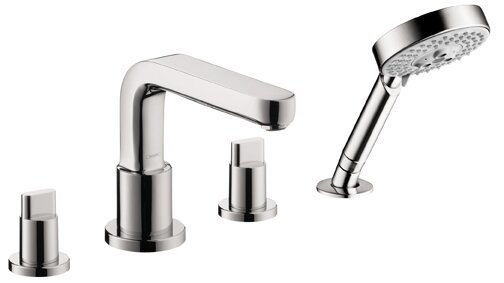 Metris S Two Handle Deck Mount Roman Tub Faucet with Shower Head by Hansgrohe