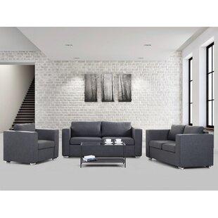 Lieida 3 Piece Fabric Upholstered Sofa Set