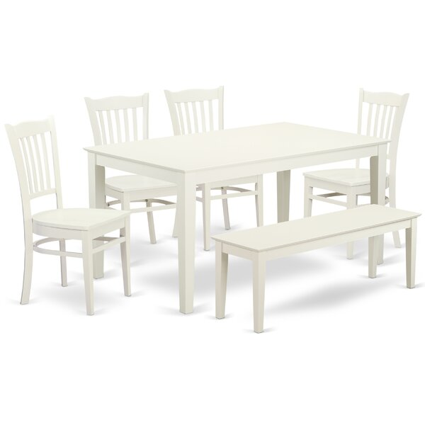 Smyrna 6 Piece Solid Wood Dining Set by Charlton Home
