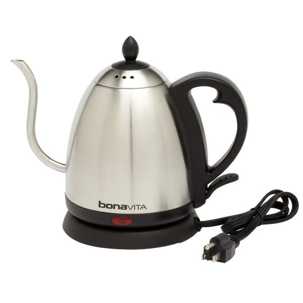 Bonavita 1.05 Qt. Gooseneck Stainless Steel Electric Tea Kettle by Bonavita Coffee