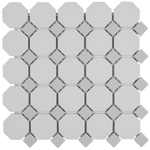 Osmond 12 x 12  Ceramic Mosaic Tile in Matte White Sheet by Itona Tile