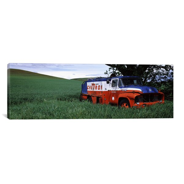 Panoramic Antique Gas Truck on a Landscape, Palouse, Whitman County, Washington State Photographic Print on Canvas by iCanvas