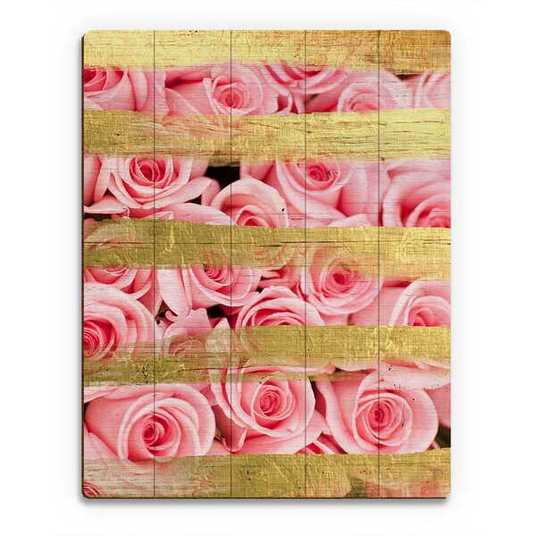 Wood Slats Pink Roses and Stripes Graphic Art on Plaque by Click Wall Art
