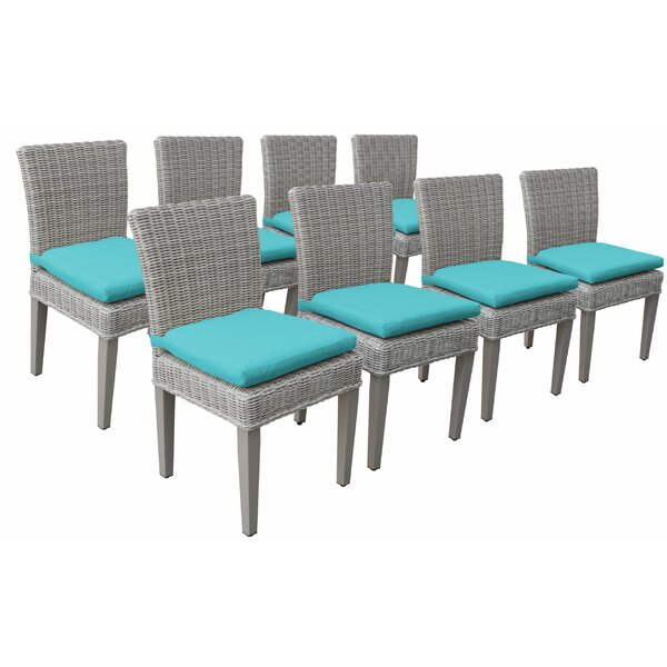Sanora Patio Dining Chair with Cushion (Set of 8) by Breakwater Bay