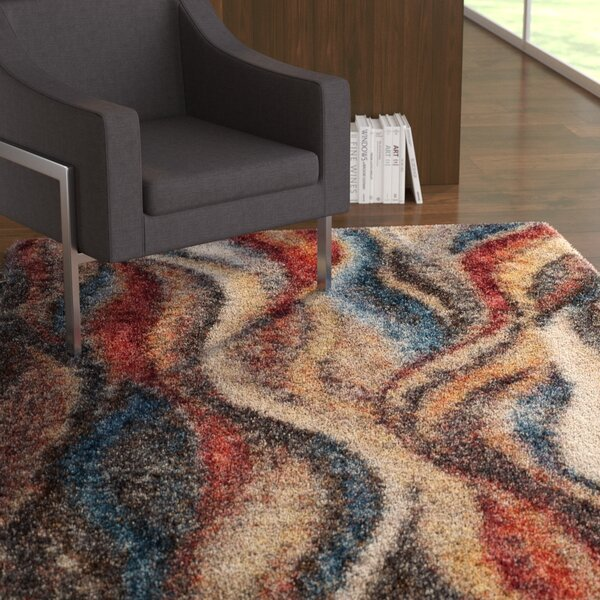 Delma Rust/Blue Area Rug by Ebern Designs
