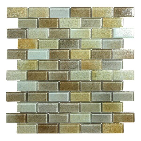 Hi-Fi Offset Brick 1 x 2 Glass Mosaic Tile in Sandy Beige/Brown/Pale Gray by Kellani