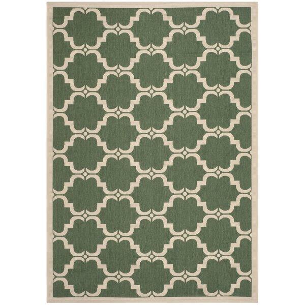 Short Dark Green/Beige Geometric Contemporary Rug by Winston Porter