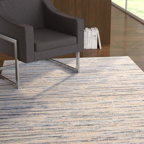 Biehl Hand Loomed Cotton Blue/Beige Area Rug by Ebern Designs