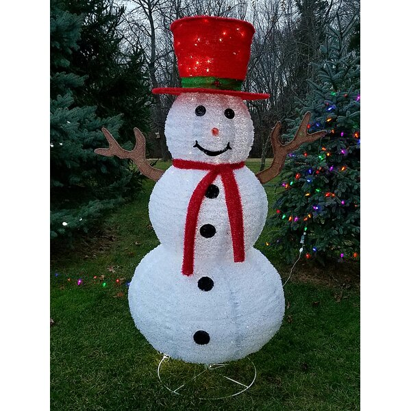 Christmas Pre Lit LED Lighted Snowman with Red Scarf Lighted Display by The Holiday Aisle