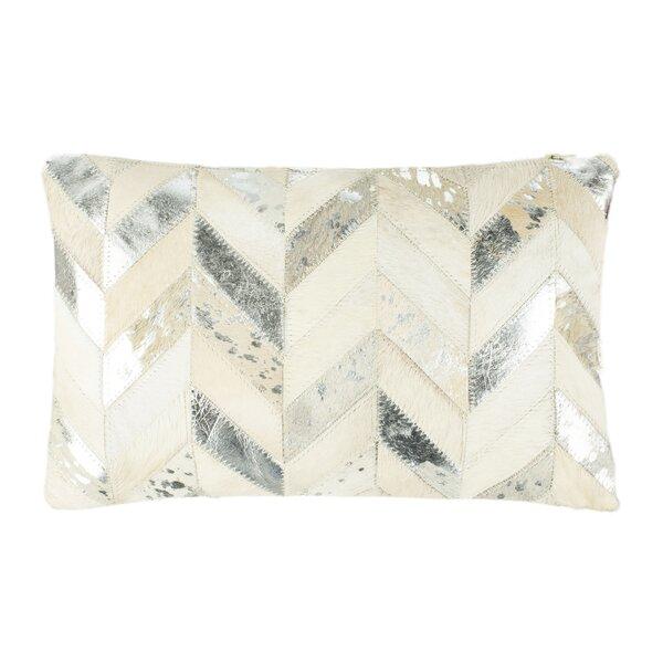 Quealy Metallic Herringbone Lumbar Pillow by Union Rustic