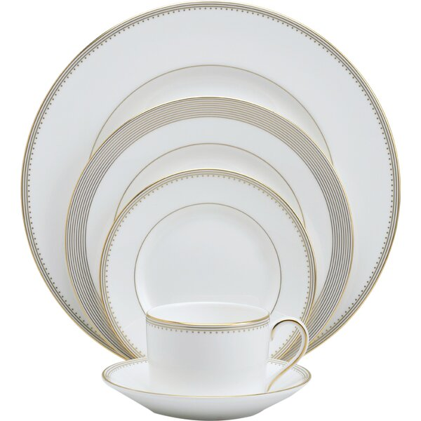 Grosgrain Bone China 5 Piece Place Setting, Service for 1 by Vera Wang
