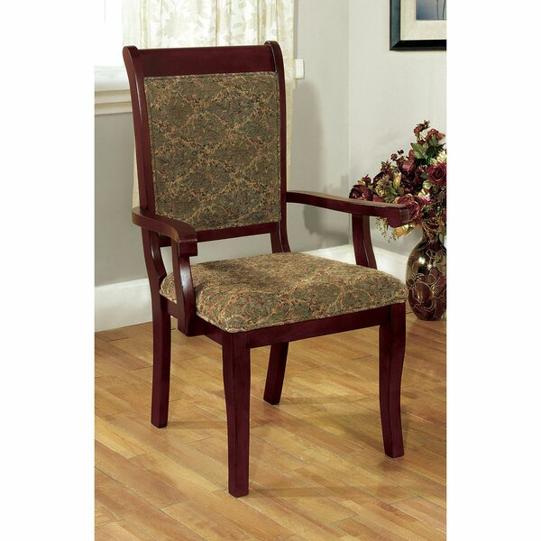 Glenys Upholstered Arm Chair In Brown Cherry (Set Of 2) By Alcott Hill