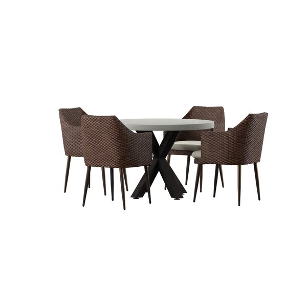 Avery 5 Piece Dining Set with Cushions by Mercury Row