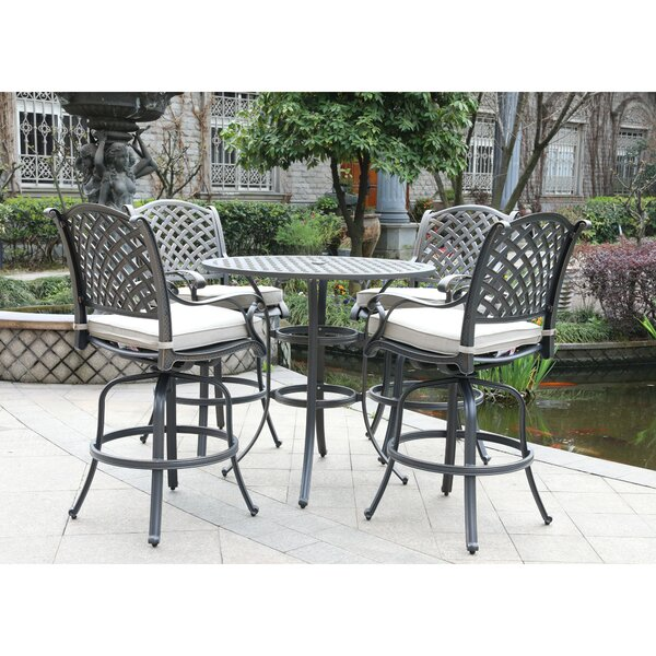 Waddington 5 Piece Bar Height Dining Set with Sunbrella Cushions by Fleur De Lis Living