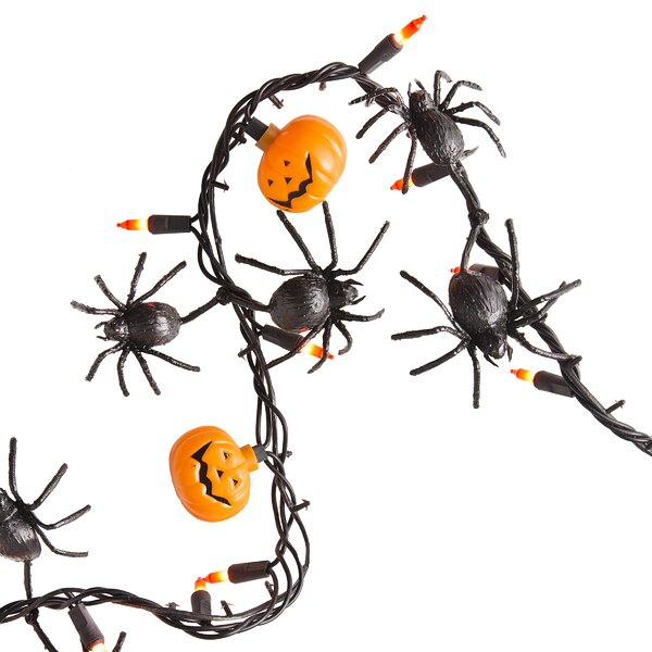 Halloween Spider and Pumpkin Garland 50 Light String Lights by The Holiday Aisle