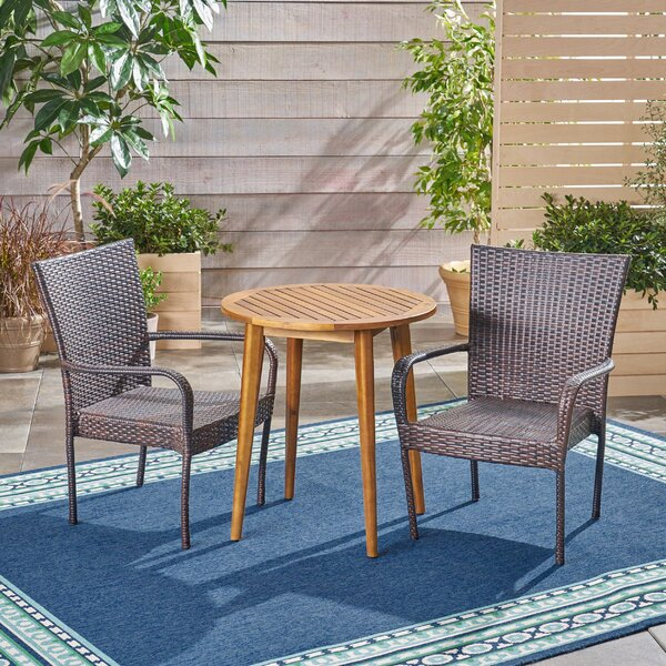 Goetsch Outdoor 3 Piece Bistro Set by Wrought Studio