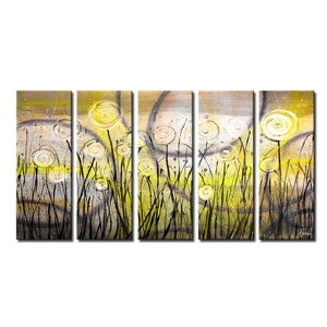 'Painted Petals VI' by Ready2HangArt™ 5 Piece Graphic Art on Canvas Set by Ready2hangart