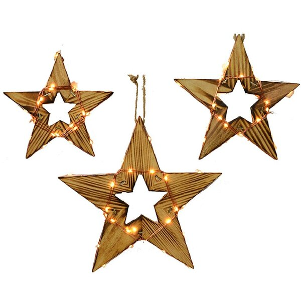 3 Piece LED Wood Star String Light Set by Laurel Foundry Modern Farmhouse