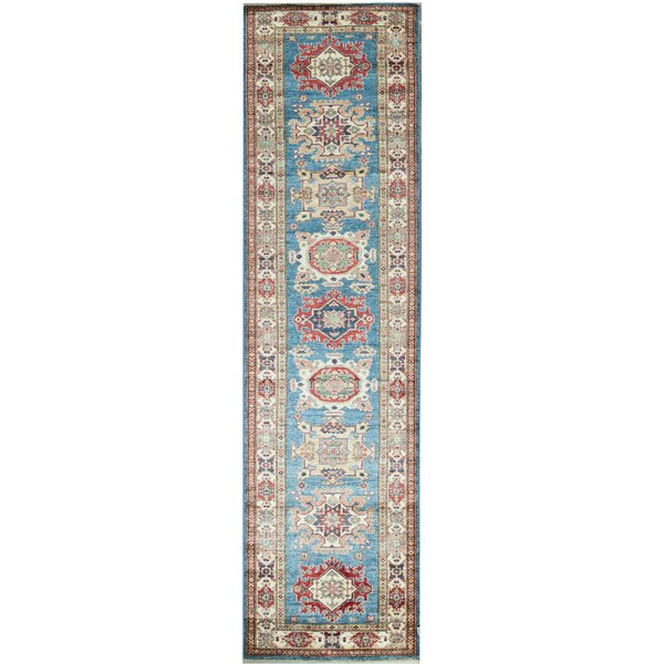 Runner Southwestern Hand-Knotted Wool Light Blue/Ivory Area Rug