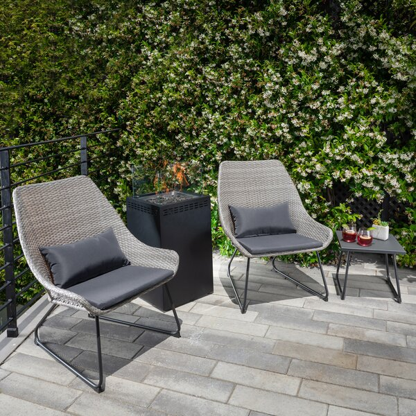 Pietsch Woven Chat 4 Piece Seating Group with Cushions by Bungalow Rose