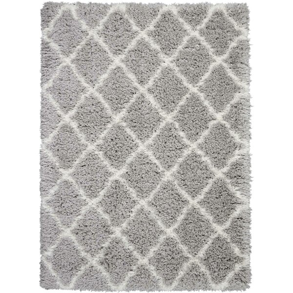 Woo Geometric Gray/Ivory Area Rug by House of Hampton